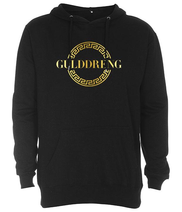 Sort hoodie med gulddreng logo på brystet