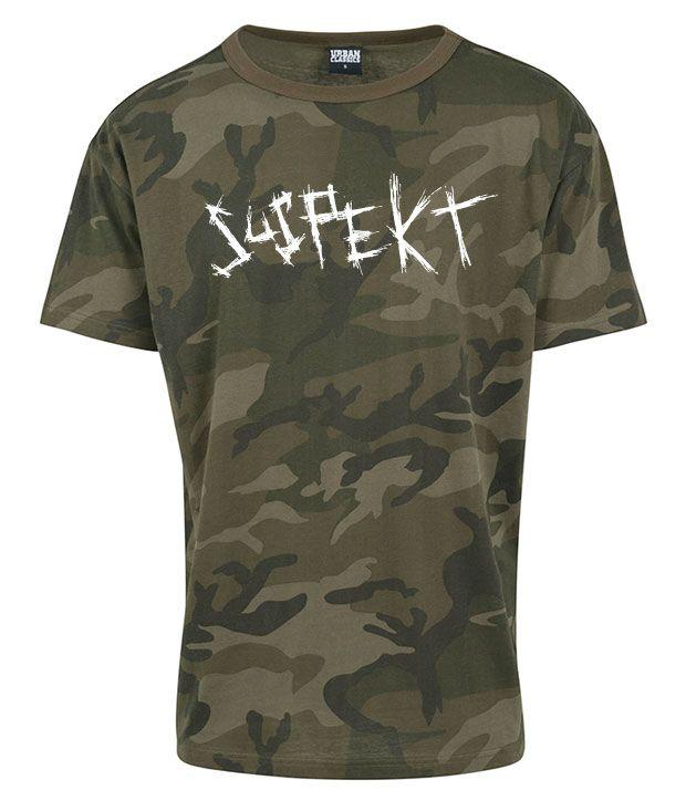 Camouflage farvet t-shirt med hvidt logo på brystet