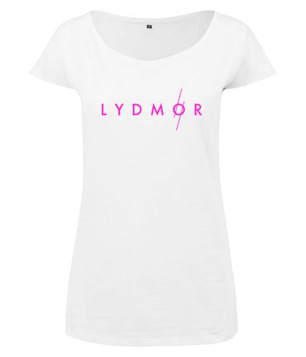 Hvid t-shirt til kvinder med pink Lydmor logo