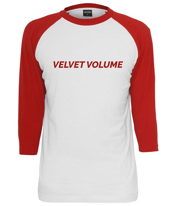 Baseball trøje i hvid med røde ærmer og rød velvet volume logo på brystet