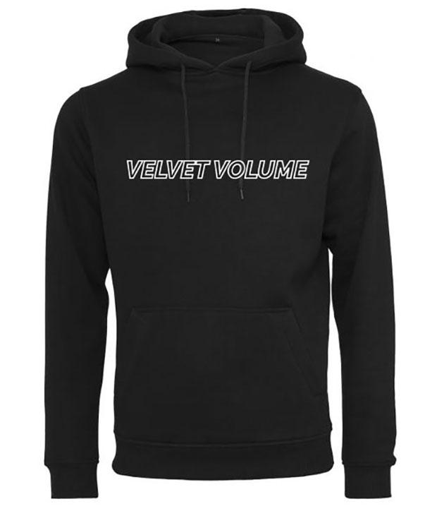 Sort hoodie med hvidt velvet volume logo på brystet