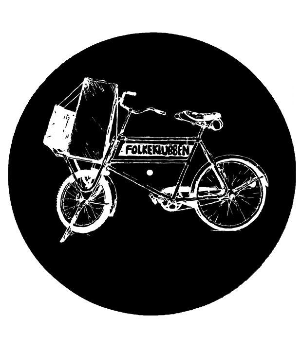 Sort slipmat med hvidt Folkeklubben cykel logo i hvid