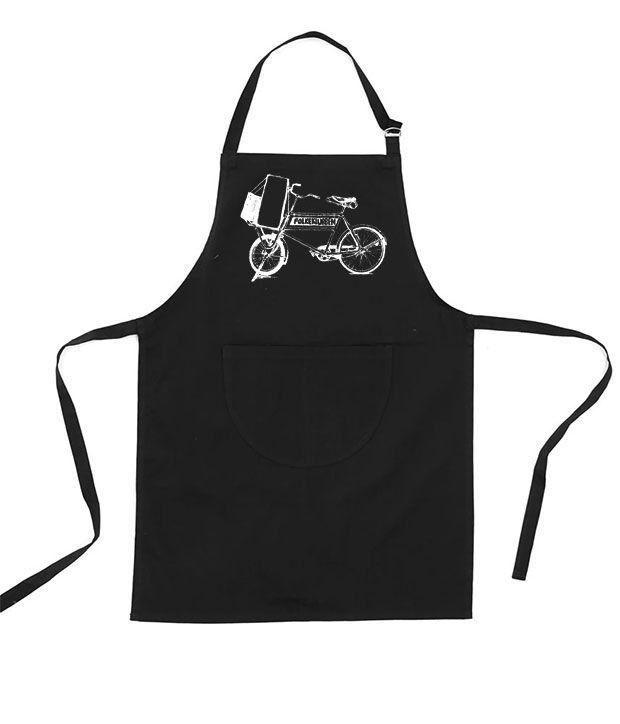 Sort forklæde med hvis cykel trykt på