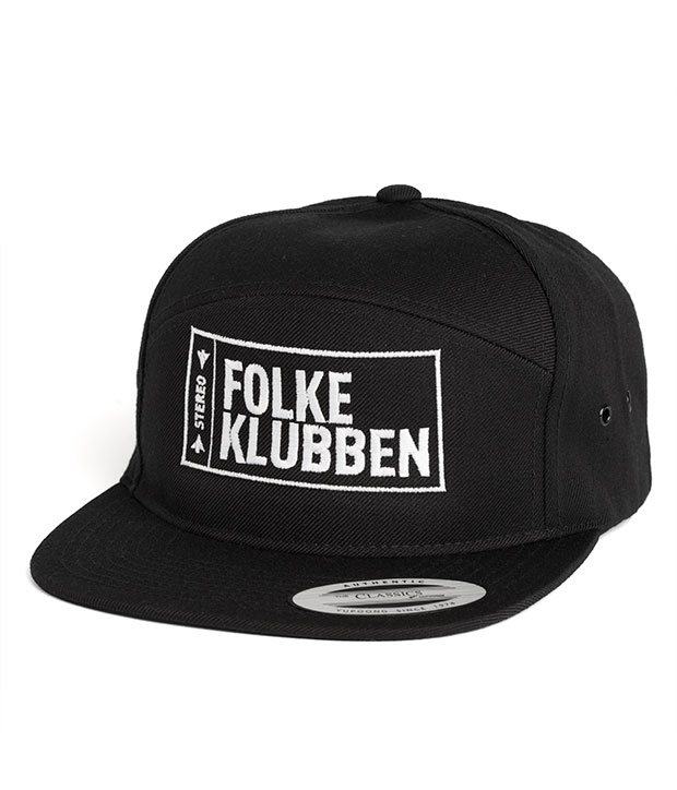 Sort Folkeklubben cap med hvidt logo