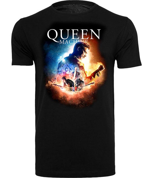 Sort t-shirt med farverigt tryk af bandet og logo Queen Machine