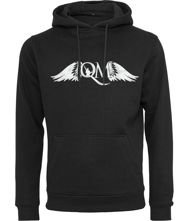 Sort hoodie med hvidt Queen Machine logo på brystet