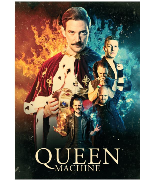 farverig Queen Machine plakat med bandet på