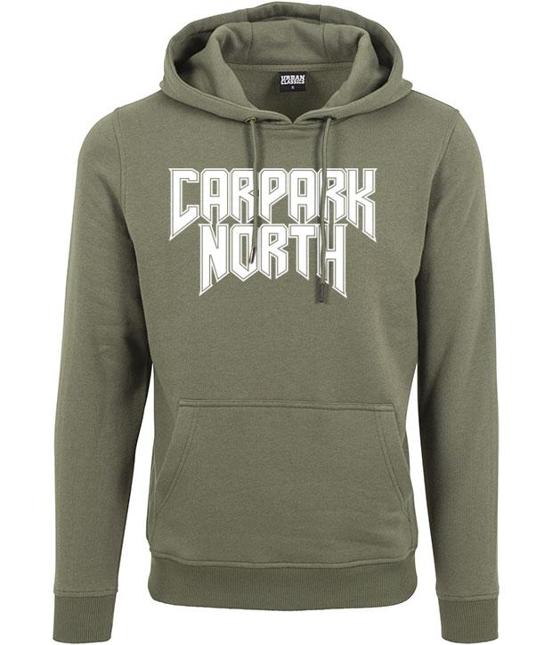 Olivenfarvet hoodie med hvidt Carpark North tryk på brystet